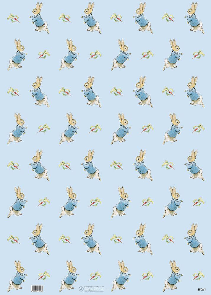 Peter Rabbit Gift Wrap Blue Beatrix Potter Shop