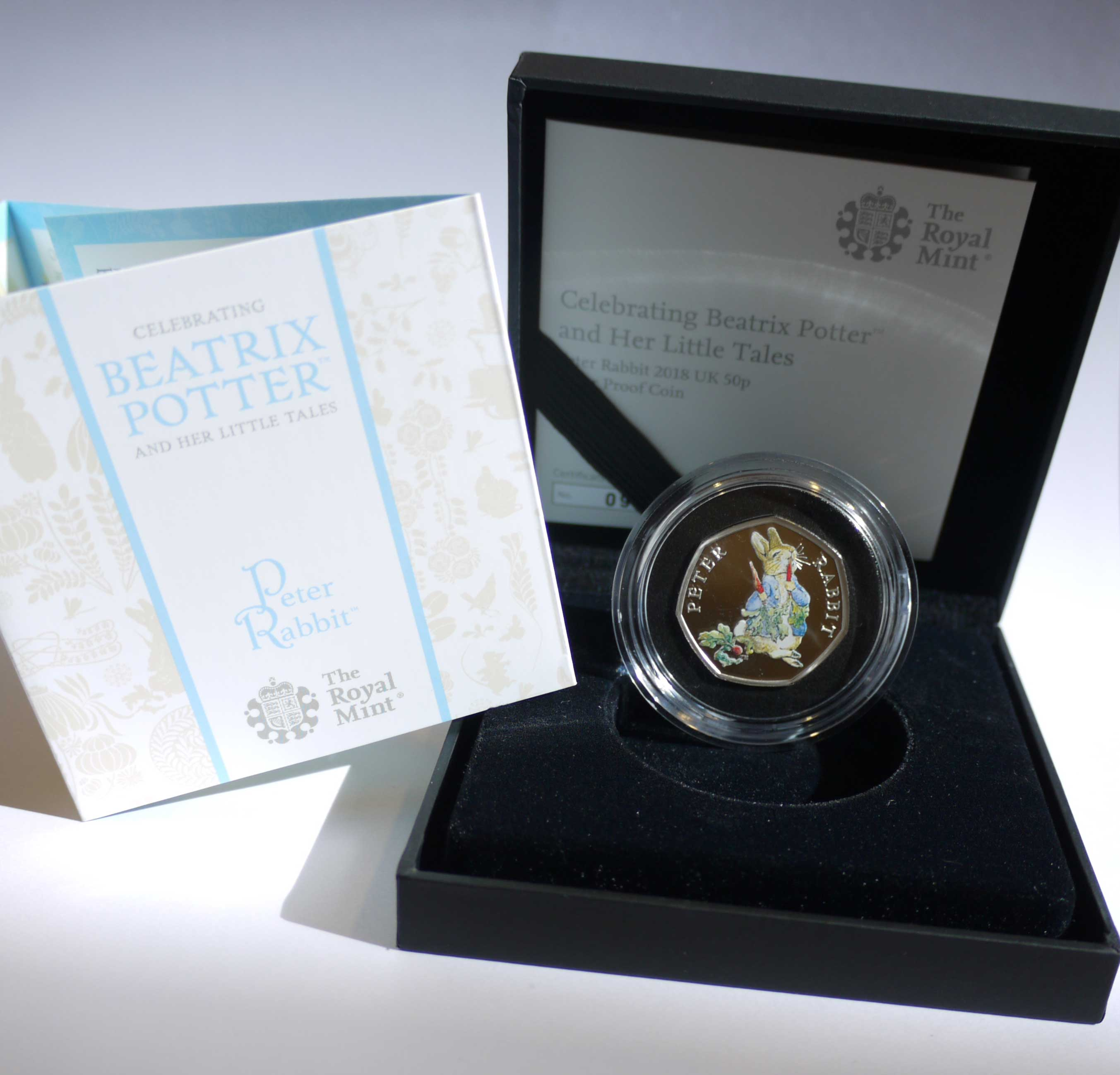 Peter Rabbit 2018 Royal Mint Coloured 50p Silver Proof Coin in a Black Box