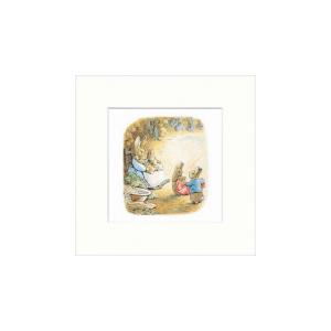 Mrs Rabbit in her Burrow Mounted Print