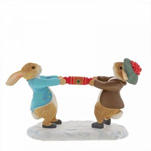 Peter Rabbit and Benjamin Pulling a Cracker Figurine