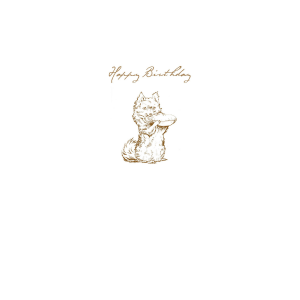 Dog holding Pie Sketch 'Happy Birthday' Card