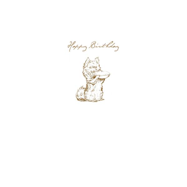 Dog holding Pie Sketch 'Happy Birthday' Card