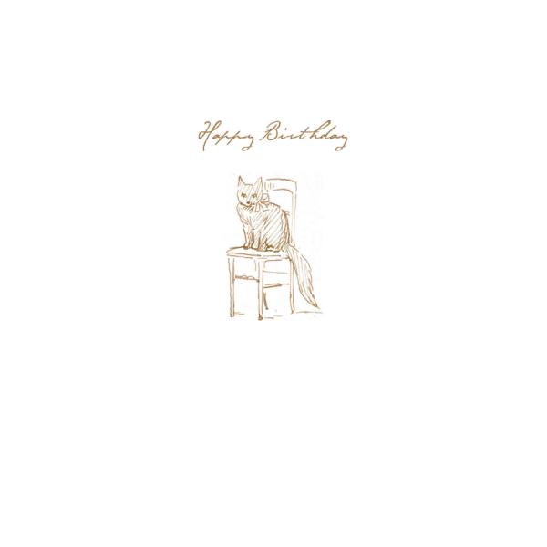 Cat Sketch 'Happy Birthday' Card