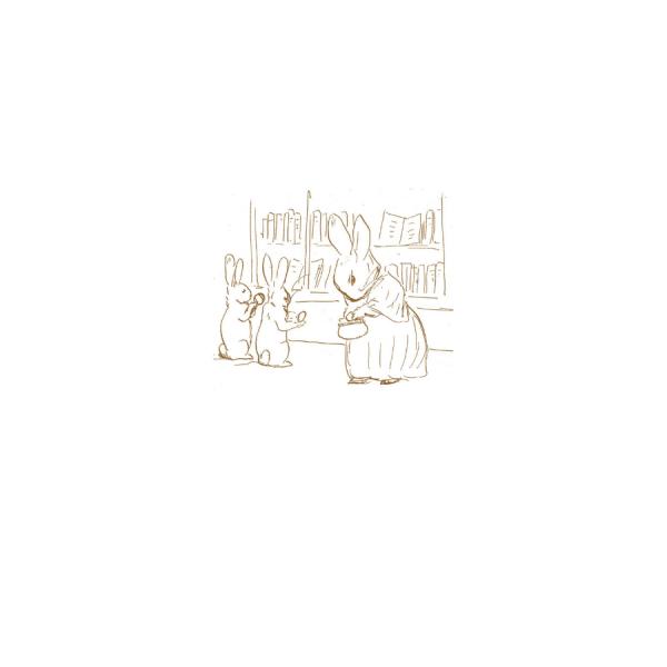 Mrs Rabbit Shopping Sketch Greetings Card