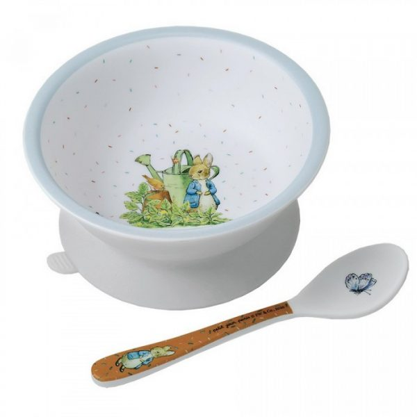 Peter Rabbit Blue Bowl with suction pad and spoon set