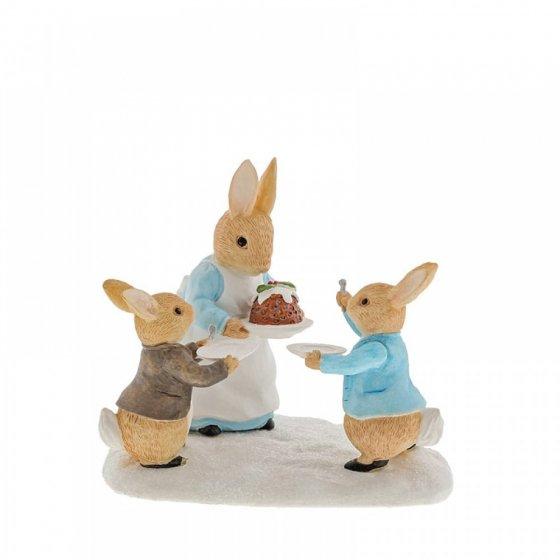 Mrs. Rabbit with a Christmas Pudding Figurine